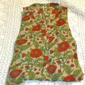 Poppy floral Let it Be shell tank top size L large